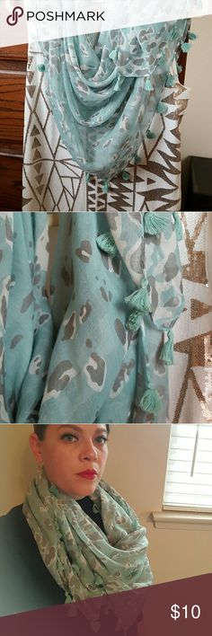 """Leopard Scarf Made of linen, boardered with cotton tassels. Mint green in color, with gray and white leopard print. Perfect for work out play. Super light and fun. Small snag shown on last picture. Measures at 39"""" x 39"""". Accessories Scarves & Wraps"""