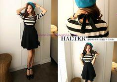 Korean black slip dress