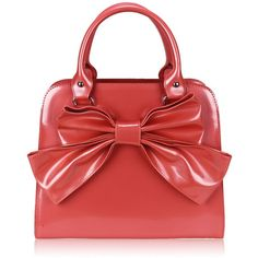 'Peach Bow' patent vintage inspired 1950's style handbag ($69) ❤ liked on Polyvore featuring bags, handbags, patent leather purse, patent handbags, bow purse, vintage style handbags and patent purse