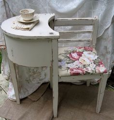 Painted Furniture ~  GREY Telephone Bench