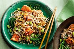Dinner is ready in a flash with this wok-fried salmon and soba noodle recipe.