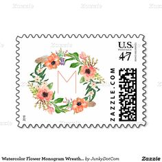 Watercolor Flower Monogram Wreath Salmon Peach Stamp @zazzle April 20 5x