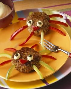 Two meat ball and pepper spiders – License high-quality food images for your projects – Rights managed and royalty free – 199213 Toddler Meals, Kids Meals, Cute Food, Yummy Food, Creative Food Art, Food Art For Kids, Good Foods To Eat, How To Eat Better, Food Decoration