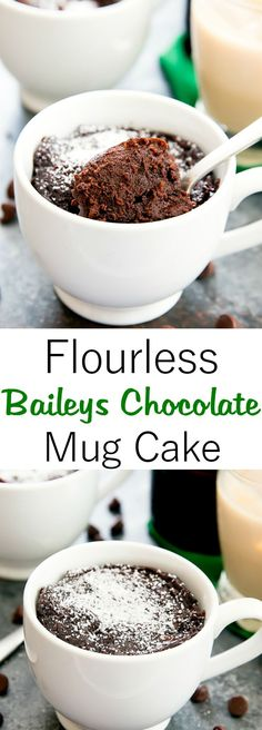 Flourless Baileys Chocolate Mug Cake. Single serving gluten free cake ready in one minute in the microwave!