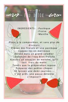 affiche - communication visuel Fruit rouge - Fraise - Pasthéque - Menthe recette - eaux detox  au Chalet des îles Daumesnil