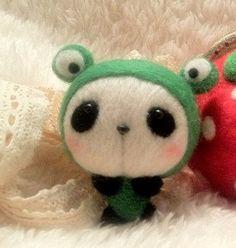 Frog Cap Hat Panda with Blusher, Felt Wool Animal, Felting Kit Material DIY