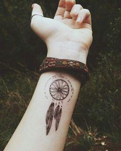 Cute Wrist Dream Catcher Tattoo Design.