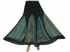 Amazon.com: Womens Black Skirt Green Printed Georgette Skirts Long Skirts: Clothing
