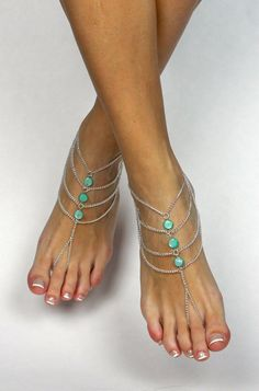 Mint Green Bohemian Barefoot Sandals Boho Foot от BareSandals