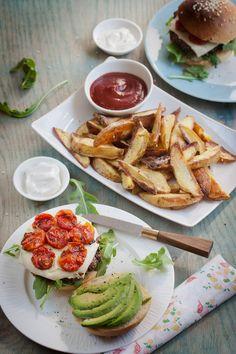 Hazelnut Burger with Roasted Tomato and Avocado (vegan)
