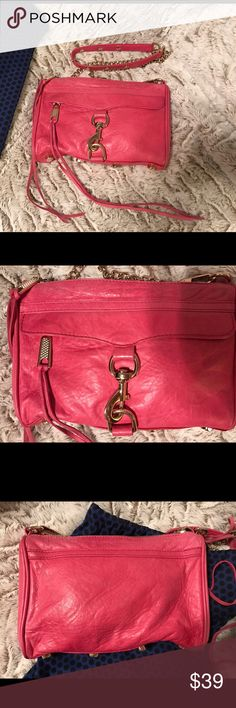 Rebecca Minkoff Mini Mac Beautiful soft leather in hot pink with gold hardware. It's in decent condition. It does show some wear with fading. The leather has an old fashion worn look, but I believe it is made to look that way. Rebecca Minkoff Bags Crossbody Bags