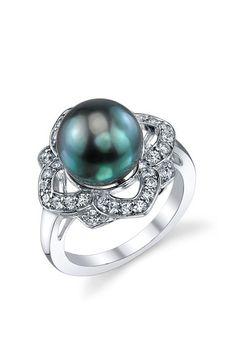 Sterling Silver 10-11mm Tahitian South Sea Pearl & Crystal Flower Trim Ring