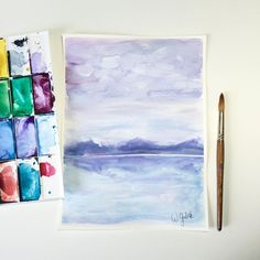 Abstract landscape watercolor painting on paper. Purple and blue colors. Great for home decor, interior design.