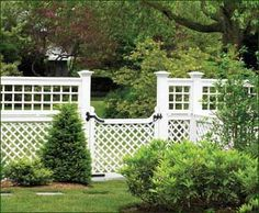 """Lattice Fence and Gate - """"A Walpole detailed replication of an historical fence, features horizontal/vertical on top and diagonal lattice beneath that continues seamlessly with the gate."""""""