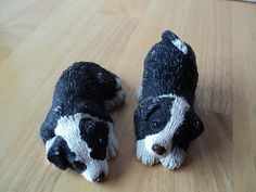 Puppy Dog Figurines Pair of Dog Statues Miniature by CapeCats