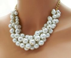 Chunky Pearl Necklace White Pearl Necklace by CameronsJewelryBox