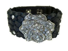 leather cuff with rhinestones | Rhinestone Stud Wide Rose Black Leather Cuff Bracelet by New Classic