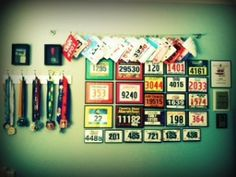 Office Wall Display for Race Bibs and Medals
