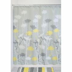 Check out the deal on InterDesign Daizy Gray and Yellow Fabric Shower Curtain at BedBathHome. Yellow And Grey Curtains, Yellow Shower Curtains, Yellow Fabric, Fabric Shower Curtains, Grey Yellow, Grey Fabric, Crochet Curtains, Custom Curtains, Shower Liner