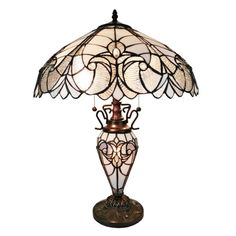 Amora Lighting 23 in. Tiffany Style Floral Finish Double Lit Table - The Home Depot - лампа Тиффани - Tiffany Style Table Lamps, Tiffany Lamps, Tiffany Lamp Shade, Tiffany Art, White Table Lamp, Light Table, Lamp Table, Chandeliers, Diy Chandelier