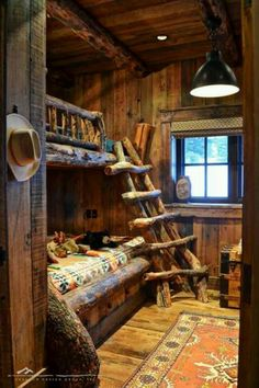 Log bedroom, would totally do this for my kids.