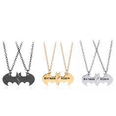 3 Colors Batman Necklaces BATMAN ROBIN Lettering link Necklaces Best Friends Personalized Friendship BFF Pendant Necklaces Gift