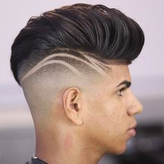 Pompadour with Thick Lines on Side of Head - Best Hair Designs For Men: Cool Fade Haircut Designs For Guys and Boys Haircut Designs For Men, Hair Designs For Boys, Cool Hair Designs, Mens Hair Designs, Boys Haircuts With Designs, Mens Hairstyles Fade, Modern Hairstyles, Hairstyles Haircuts, Cool Haircuts