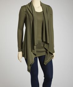 Olive Cardigan & Camisole Layered Top - Plus by Poliana Plus #zulily #zulilyfinds