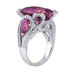 Pink Tourmaline and Diamond Asprey Ring.