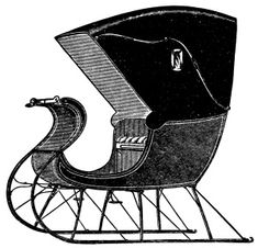 Horse Drawn Sleigh (Cutters) Black and White Version 3 of 3 ~ Free Vintage Graphics