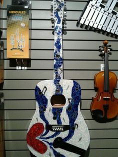 """""""Blue Lady"""" by laura domingue... Stained glass mosaic guitar"""