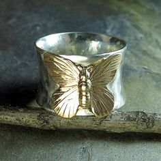 Handmade sterling silver butterfly ring - On Golden Wings