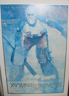 CC/ABC TV USA Hockey Calgary Canada 1988 Winter Olympics EMBOSSED Lithograph