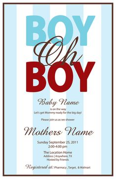 Boy Oh Boy Printable Baby Invitation Digital by LeeshaLooDesignz
