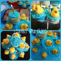 For dessert, I made the White Almond Cupcakes with the Best Birthday Party Frosting.  I colored the frosting blue, sprinkled with Wilton Pearl Sprinkles (to be the bubbles), and topped it off with a small rubber ducky.