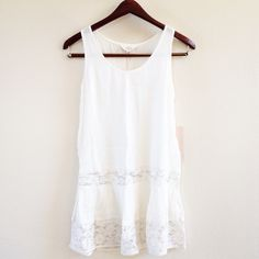 | new | ivory lace tank offers welcome new with tag size extra small long flowy ivory tank with lace panels. perfect for layering. •86989•  instagram: @xomandysue Tops Tank Tops