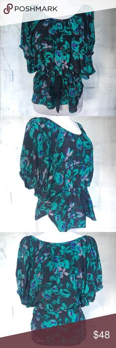 Rebecca Taylor Floral Silk Blouse Floral printed 100% silk blouse, turquoise and navy. Ribbons tie at waist. Absolutely stunning. Excellent preowned condition. No rips holes or stains. Rebecca Taylor Tops Blouses