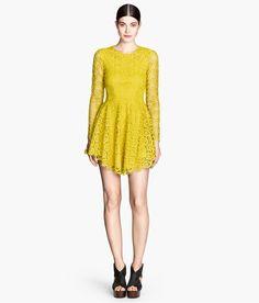 Yellow lace dress. #HMTrend