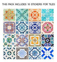 Aplicar estes Azulejos Españoles tradicionales pegatinas (Caja de 16) en cualquier superficie plana. Es la elección perfecta.