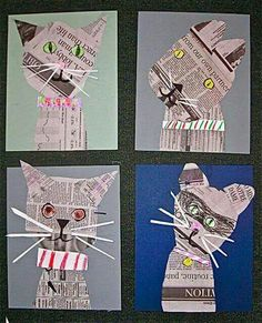 Collage cats in the style of Denise Fiedler, vintage artist. A link to Fiedler's. - Collage cats in the style of Denise Fiedler, vintage artist. A link to Fiedler's own website is o - Arte Elemental, Creation Art, Newspaper Crafts, Newspaper Collage, Recycle Newspaper, Ecole Art, School Art Projects, Craft Projects, Art Lessons Elementary