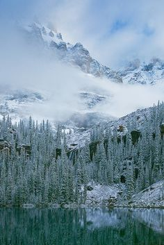 Mount Huber and Seven Veils Falls in Yoho National Park, British Columbia, Canada.