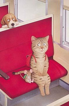 cat, mouse and puppy dog art by? Animals And Pets, Cute Animals, Arte Indie, Cat Mouse, Cat Posters, Tier Fotos, All About Cats, Cat Drawing, Whimsical Art