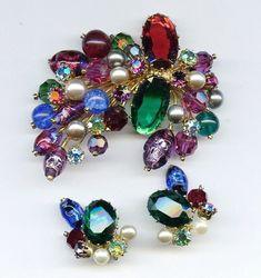 Kramer Austria Venetian Foil Glass Bead Pearl Gold Tone Heavy Pin &Earrings Set  #KramerMadeinAustria