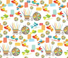 A favorite!!!! Can't wait to make Ezra something with it. Coloured Pencil Love - primary fabric by kayajoy on Spoonflower - custom fabric