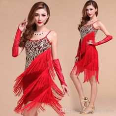 Latin Salsa Tango Cha Cha Ballroom Competition Sequined Tassels Belly Dance Dress from Trustshop_china,$32.05 | DHgate.com