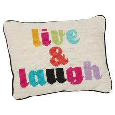 Live & Laugh Needlepoint Pillow | PBteen