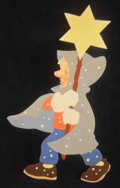 Vintage HELLERKUNST Old Man Winter GERMAN 1960s Folk Art Painted Wood Figure in Antiques, Decorative Arts, Woodenware, Other Antique Woodenware   eBay
