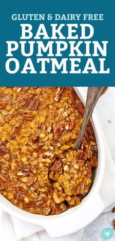 Baked Pumpkin Oatmeal Studded with pecans and laced with the perfect blend of warm spices this cozy baked oatmeal hits all the right notes Whether youre making a batch f. Healthy Breakfast Recipes, Healthy Baking, Healthy Recipes, Healthy Food, Healthy Breakfasts, Cheap Clean Eating, Clean Eating Snacks, Gluten Free Pumpkin, Pumpkin Recipes