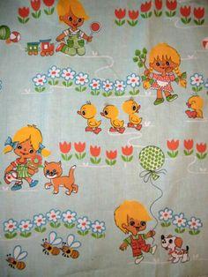 Vintage Stoffe - 70er Stoff 130 x 85 Fabric Vintage Kinder Graziela - ein Designerstück von fluffy-robin bei DaWanda