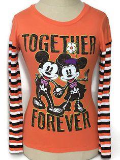 New Disney Store Mickey Mouse Vampire Halloween Glow In Dark Size 10//12 Tee